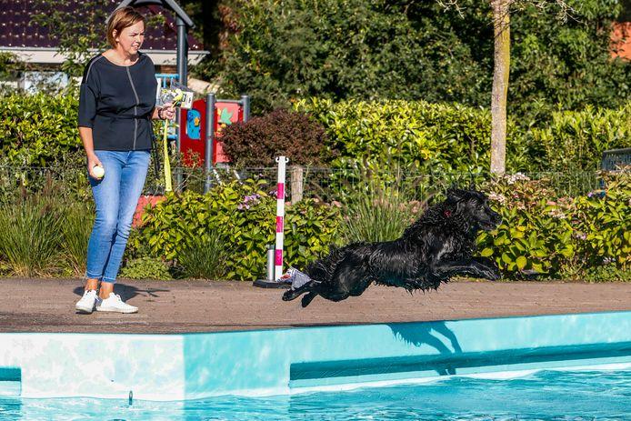 Hond Sara uit Bathmen nam als eerste een duik.