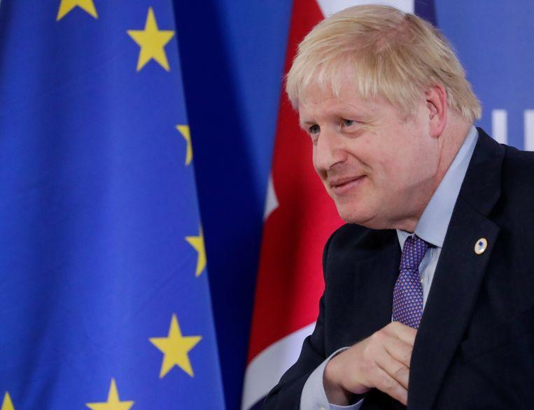 Boris Johnson geeft een persconferentie in Brussel, 17 oktober 2019. Beeld EPA