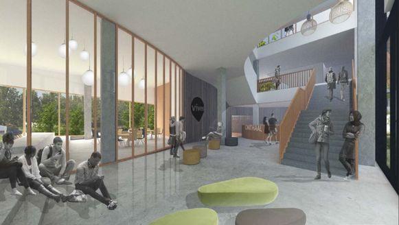 Het gelijkvloers wordt een open leer- en leefcentrum.