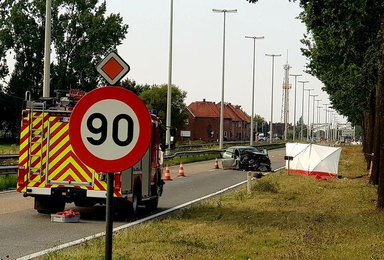 De N44 werd in de richting van Maldegem afgesloten door het ongeval.