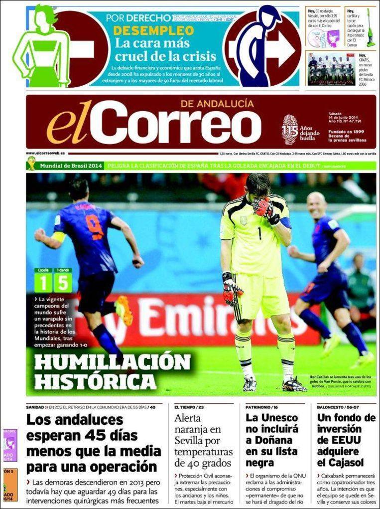 'Historische vernedering': de voorpagina van El Correo de Andalucía van 14 juni vorig jaar. Beeld El Correo