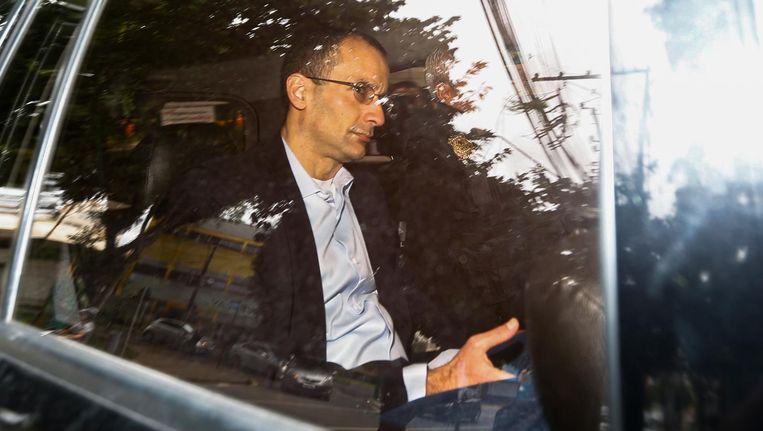 Marcelo Odebrecht, ex-directeur van het bouwconcern Odebrecht, op weg om te getuigen in het corruptieschandaal, februari vorig jaar. Beeld Paulo Lisboa / Getty Images