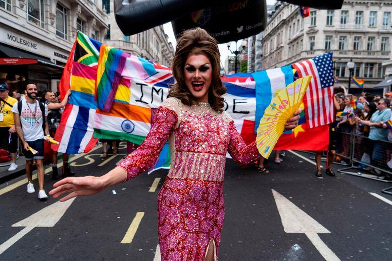 Gay Pride in Londen, vorige week zaterdag.  Beeld AFP