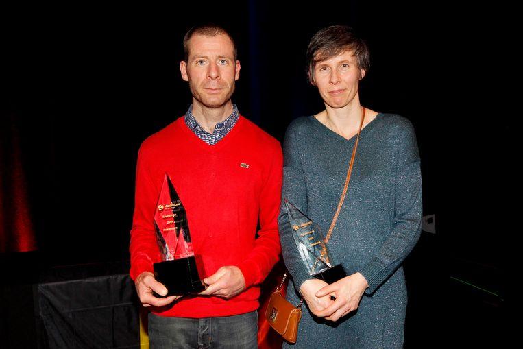 Björn Rondelez (mountainbike en cyclocross) en Nancy Van Eenoo (atletiek) zijn uitgeroepen tot sportman- en vrouw van Koekelare ( foto Coghe)