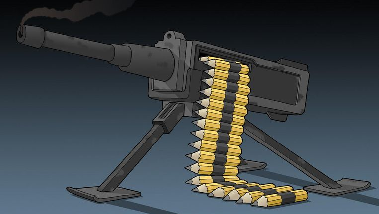 Het potlodenpistool / pencil gun. Beeld Tjeerd Royaards