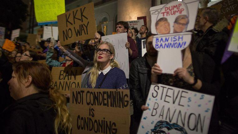Er wordt geprotesteerd tegen de aanstelling van Stephen Bannon Beeld AFP