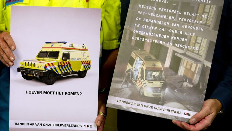 De campagne van SIRE waarbij geweld tegen hulpverleners aan de kaak werd gesteld. Beeld ANP
