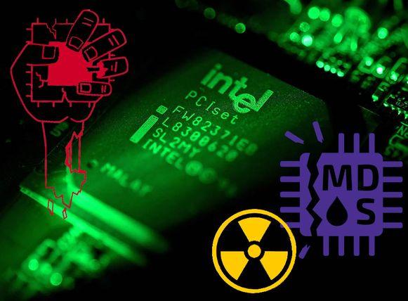 Een Intel-chip met de logo's van ZombieLoad, Fallout en RIDL.