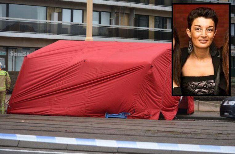 De brandweer plaatste een tent op de plaats van het ongeval. Inzet: slachtoffer Samira Chebbah (44).