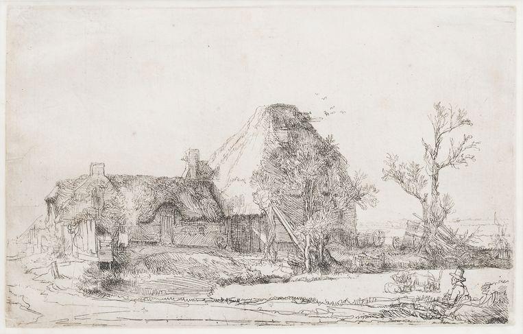 Hiervan zijn er door Rembrandt meerdere gemaakt. Er zijn er 30 bekend, die zijn allemaal in musea te vinden. De ets heeft als titel 'Landschap met kunstenaar'. Beeld Leendert Jansen