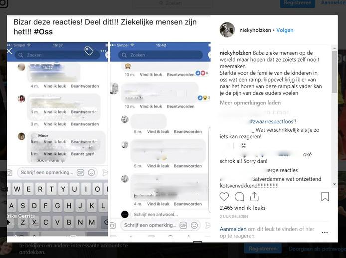 Een screenshot van het Instagram-bericht van Nieky Holzken
