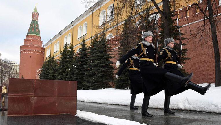Russische Garde bij het Kremlin. Beeld null