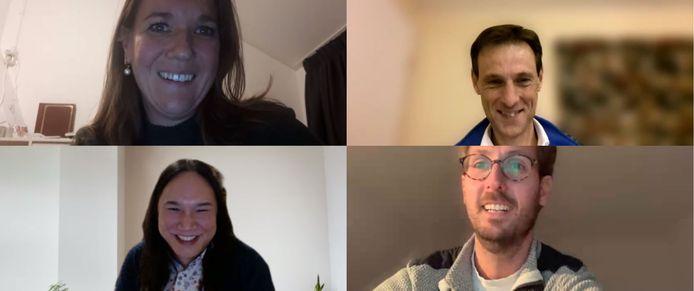 De betrokken deskundigen van het Bravis ziekenhuis in een online meeting. Met de klok mee linksboven Miranda de Klerk, daarnaast Jan-Jaap Kats, daaronder Casper Kammeijer en linksonder Milan Tjioe.