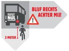 Dode Hoek-stickers op Brabantse bussen