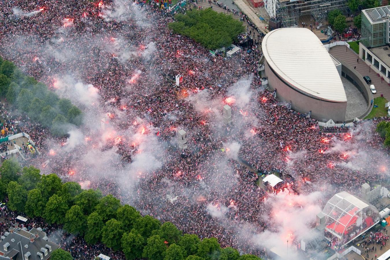 In 2011 werd Ajax voor het laatst gehuldigd op het Museumplein.