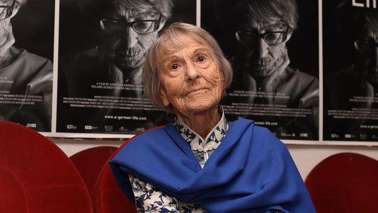 Brunhilde Pomsel, de voormalige secretaresse van Nazi propagandaminister Joseph Goebbels overleed op 27 januari en werd 106 jaar. Beeld afp