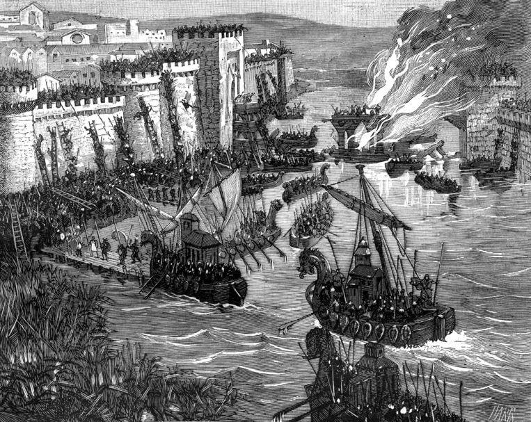 De belegering van Parijs door de Vikingen in 885.  Beeld Getty