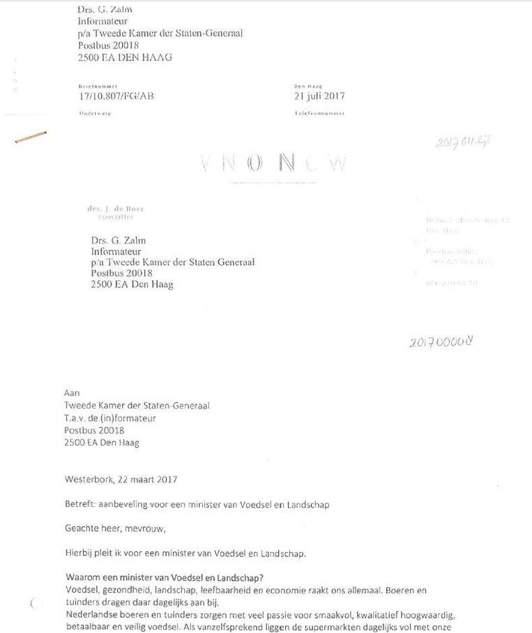 Een van de brieven waarin gepleit wordt voor een minister van Voedsel en Landschap. Beeld