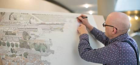 Henk Bouwman tekent 'de oude stad' Zutphen in vogelperspectief tot in het kleinste detail