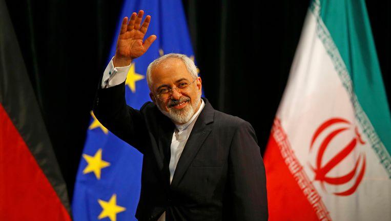 De minister van buitenlandse zaken van Iran, Javad Zarif, is blij met het akkoord. Beeld REUTERS