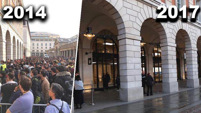 Waar zijn de iPhone-rijen gebleven? Slechts handvol fans schuift aan voor iPhone 8