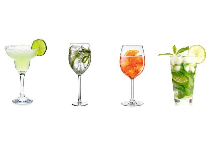 Van links naar rechts: margarita, gin tonic, Aperol spritz en mojito.