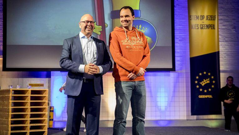 Jan Dijkgraaf (links) en Bart Nijman tijdens de presentatie van hun partij GeenPeil, 5 december. Beeld anp