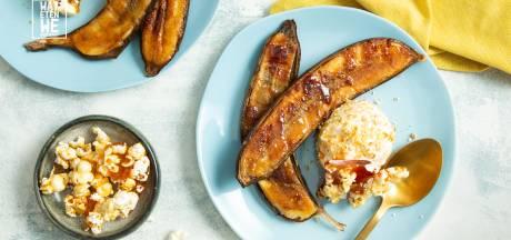 Wat Eten We Vandaag: Bbq-banaan met vanille-ijs en popcornbrittle