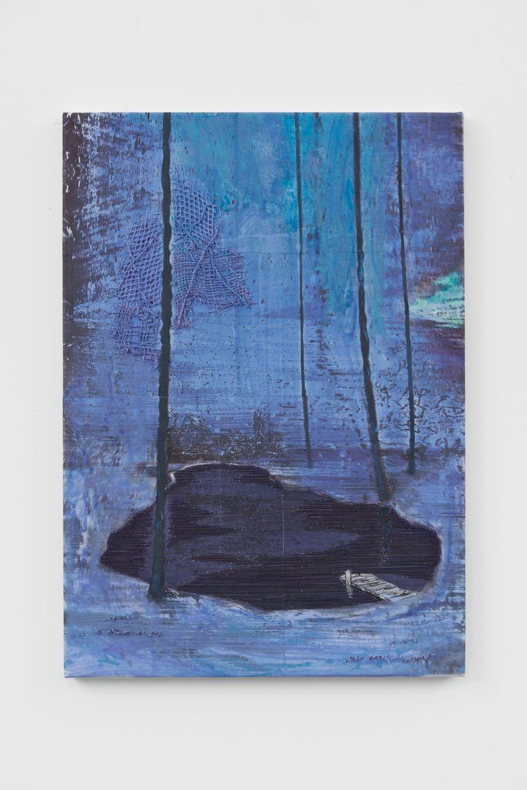 Demo (drift), Michael Raedecker, 2020. Beeld Galerie Grimm