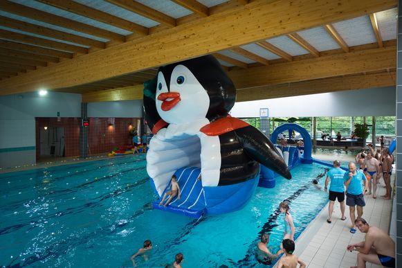 In het water ligt een opblaasbaar speeltuig in de vorm van Pongo.