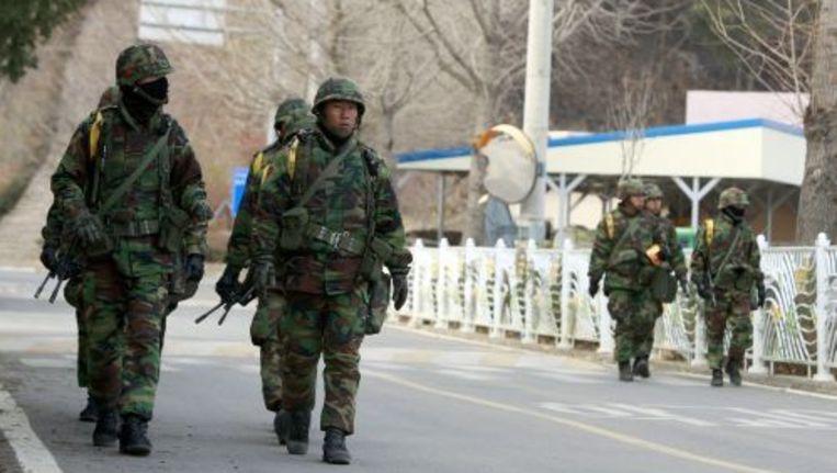 Een patrouille van Zuid-Koreaanse militairen. EPA Beeld