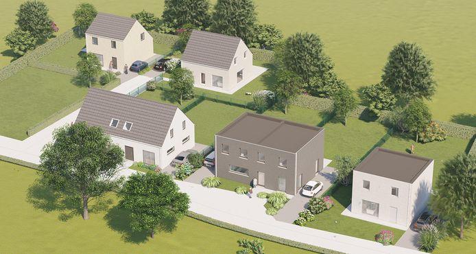 De nieuwe verkaveling in de Schoolwegel omvat zeven woningen