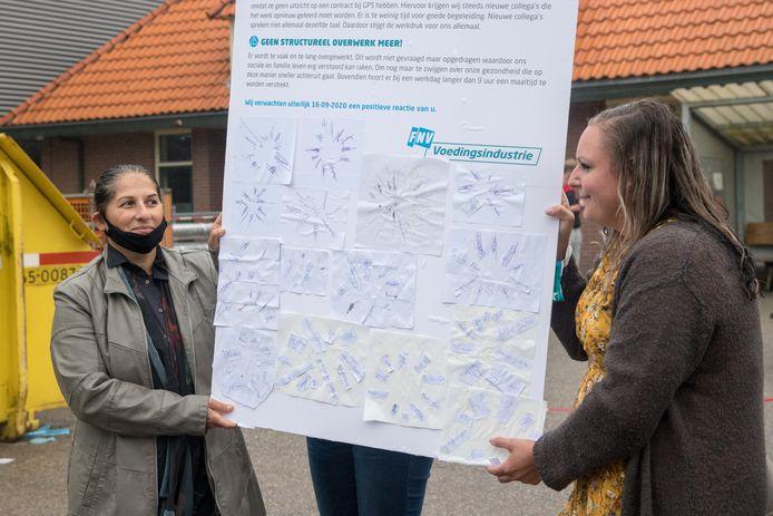 De protestactie van FNV en medewerkers van GPSD in Nunspeet, vorige week.