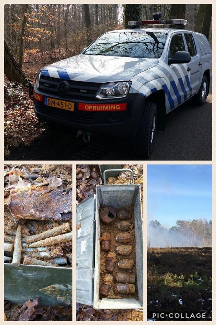Collage van het ruimen van de explosieven. Foto: Politie Bronckhorst