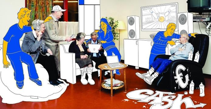 Leuke tekening om jongeren naar de zorg te lokken. illustratie Zorggroep Apeldoorn e.o.