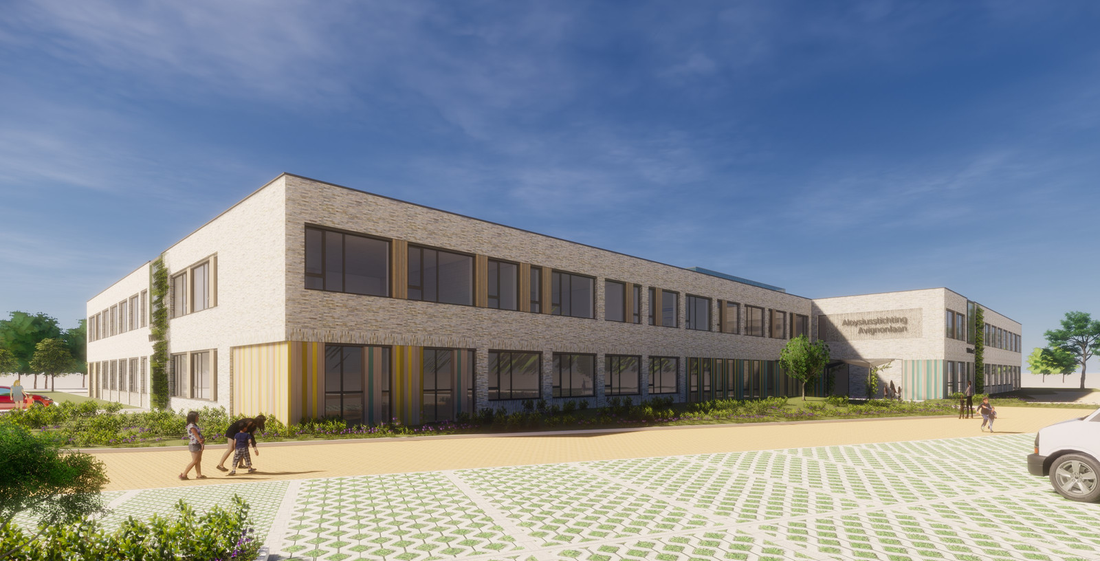 Voorlopig ontwerp van de nieuwbouw voor de Aloysius Stichting voor speciaal onderwijs aan de Avignonlaan in Eindhoven.