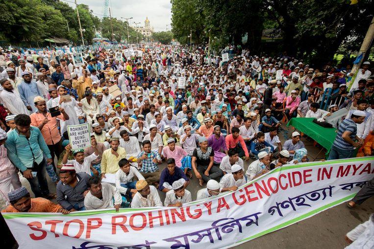Demonstratie in de Indiase stad Kolkata tegen het optreden van het Indiase leger. Beeld epa