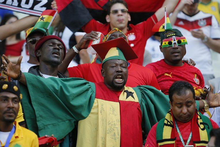 Ghanese supporters tijdens het WK voetbal. Beeld epa