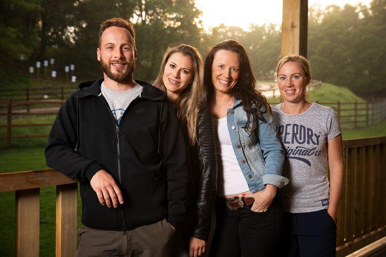 Stephan met Sara, Aline en Evelien.