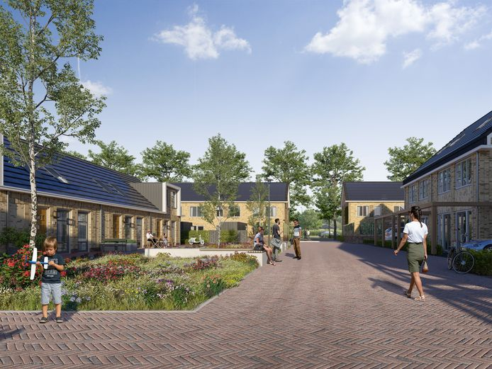 De hofjes tussen de woningen in Maanwijk moeten dienen als ontmoetingsplek. Er komen onder meer bankjes te staan.