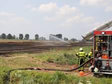 Grote brand in graanveld bij Nieuwendijk
