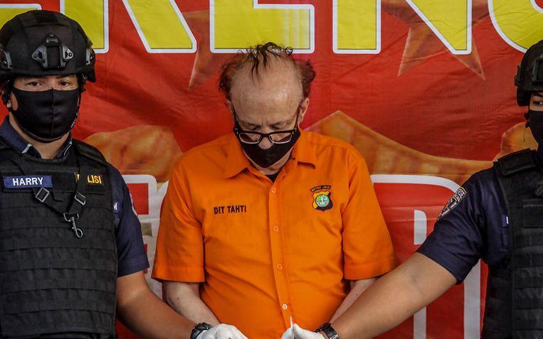 Fransman Francois Abello Camille (65) tijdens een persconferentie in Jakarta op 9 juli 2020.