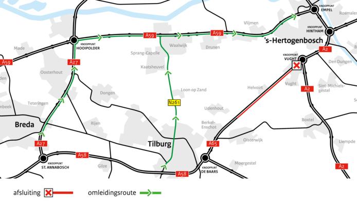 De werkzaamheden aan de N65 in kaart gebracht.