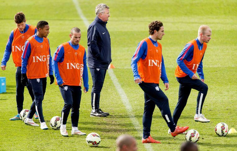 Guus Hiddink op de training van het Nederlands Elftal. Beeld anp