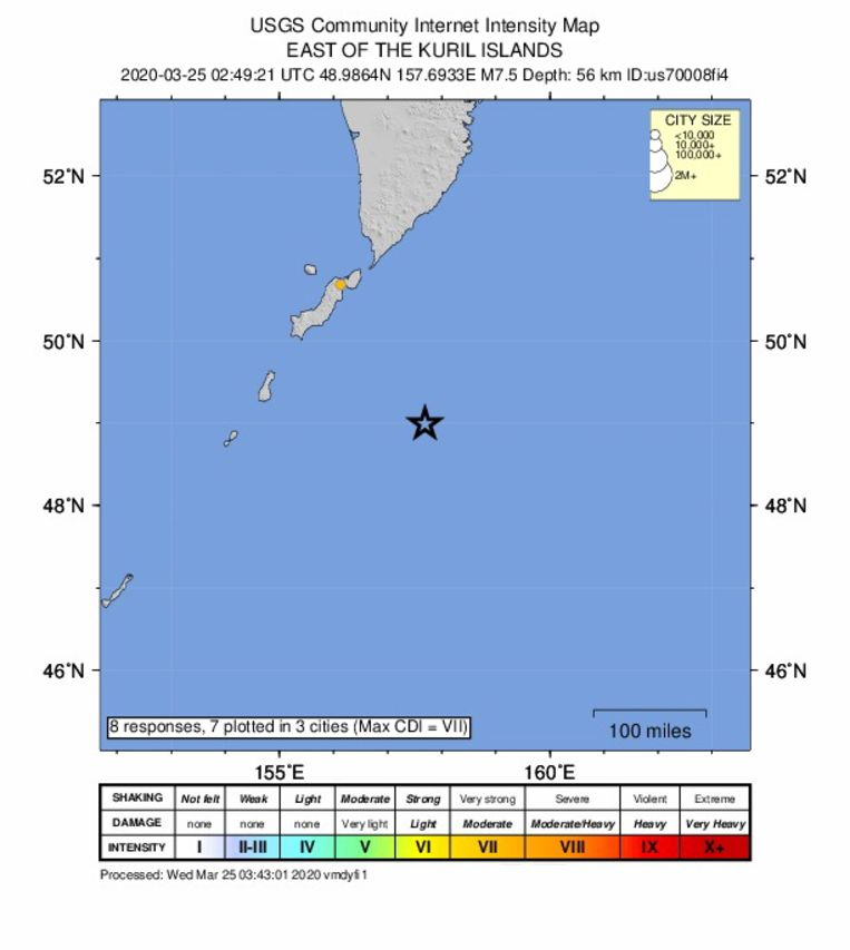 epa08320210 A handout intensity map made available by the United States Geological Survey (USGS) shows the location of a magnitude 7.5 earthquake which struck off the coast of Severo-Kurilsk, Kuril Islands, Russia, 25 March 2020. According to media reports, a tsunami warning was issued for Hawaii following the quake.  EPA/USGS HANDOUT  HANDOUT EDITORIAL USE ONLY/NO SALES