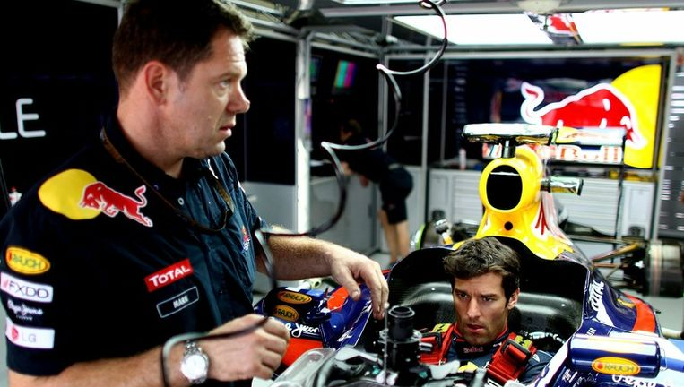 Mark Webber van het Red Bull-team. Foto Getty Images Beeld