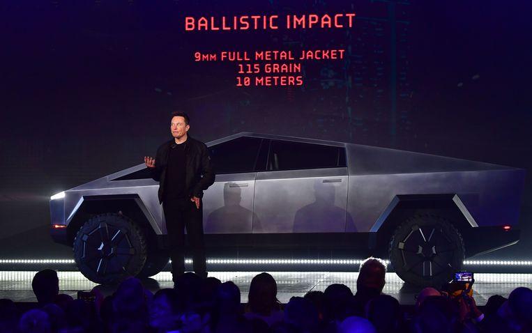 Tesla-baas Elon Musk stelde op 21 november de Cybertruck voor in Californië.
