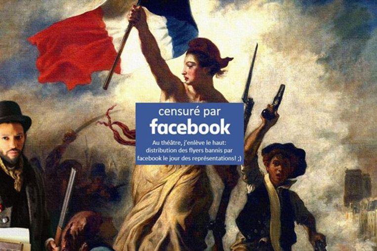 Toen de regisseur zijn afbeelding opnieuw postte met een blokje boven de blote borsten, mocht die van Facebook wel blijven staan.