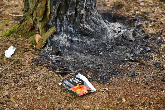 Vandalen probeerden met aanmaakblokjes een boom in brand te steken.
