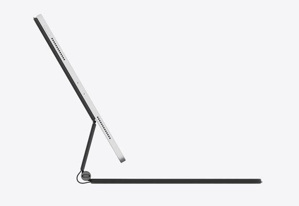 De iPad zweeft door middel van magneten in het hoesje.